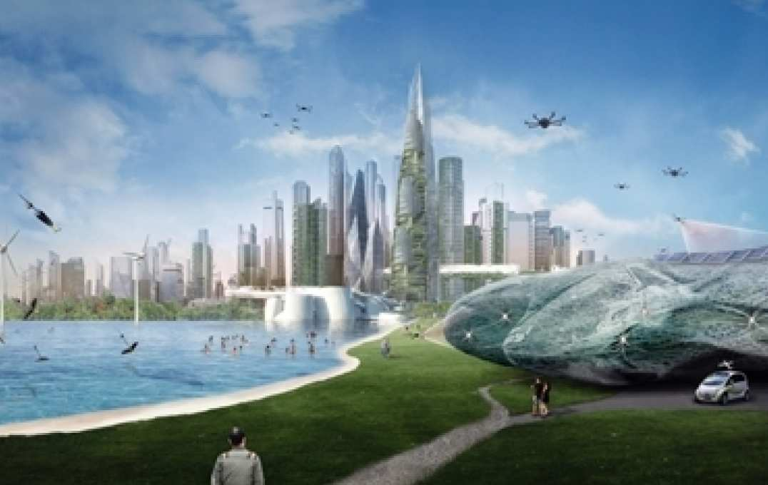Illustration of future city, with skyscrapers and drones roaming freely