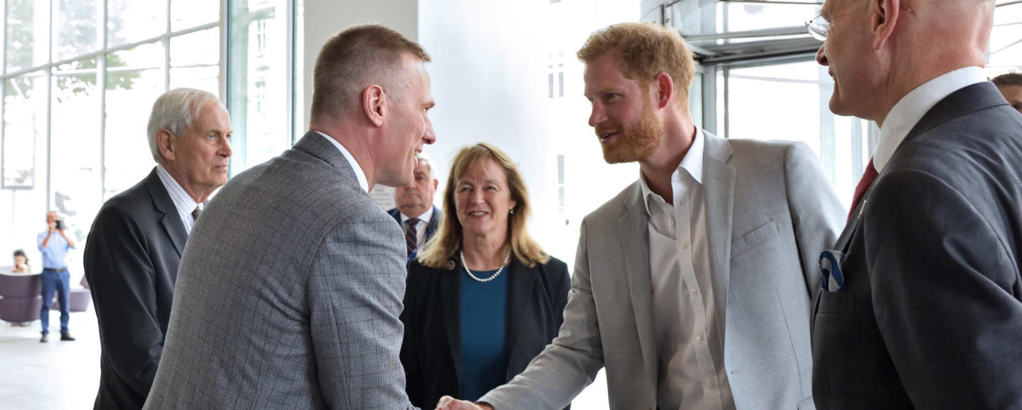 Professor Anthony Bull welcomes The Duke of Sussex during his visit to Day 1 of the Blast Injury Conference.