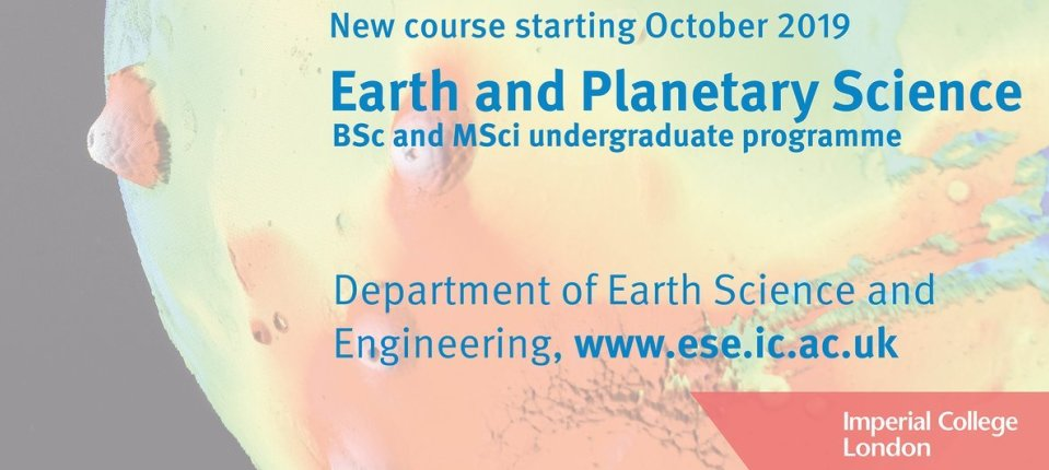 New Earth and Planetary Science degree programme