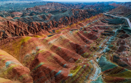 Sandstone rainbow mountains in Zhangye National Geopark c Photons_in_action