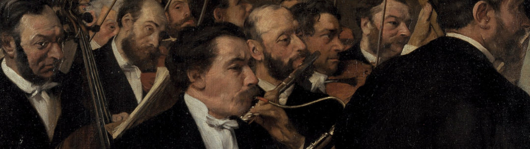 Cropped image of the painting the orchestra by Degas