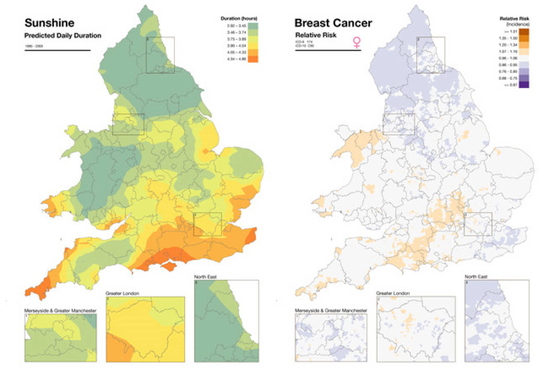 Atlast maps of sunshine duration and relative risk of breast cancer for the England and wales
