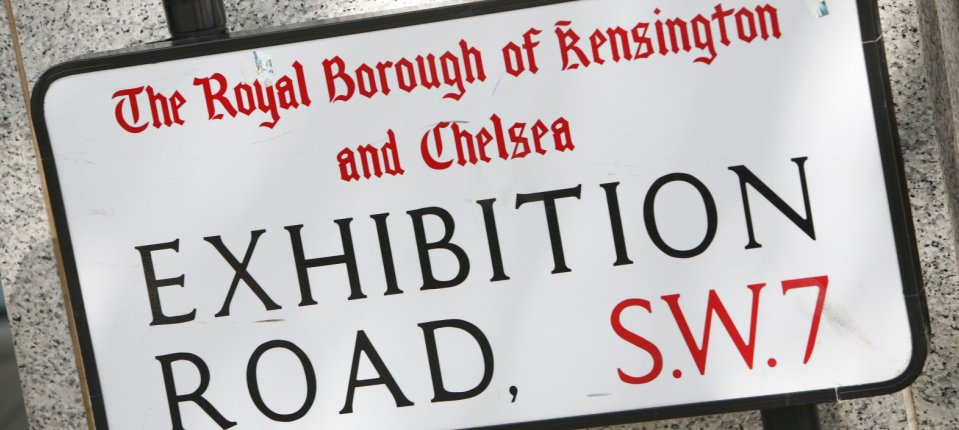 Exhibition Road local area neighbourhood road sign street SW7, photographer Ralph Hodgson
