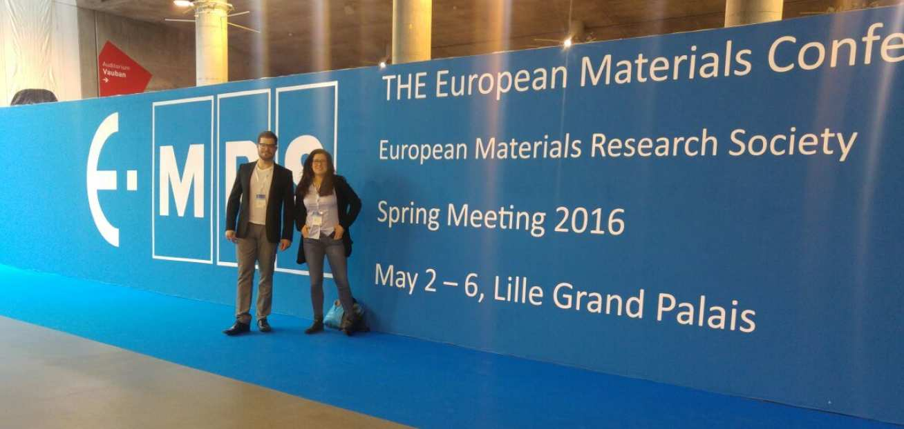 Ph.D. students, Chiara Grotta, and Francesco Reale at the EMRS Spring Meeting in Lille 2016