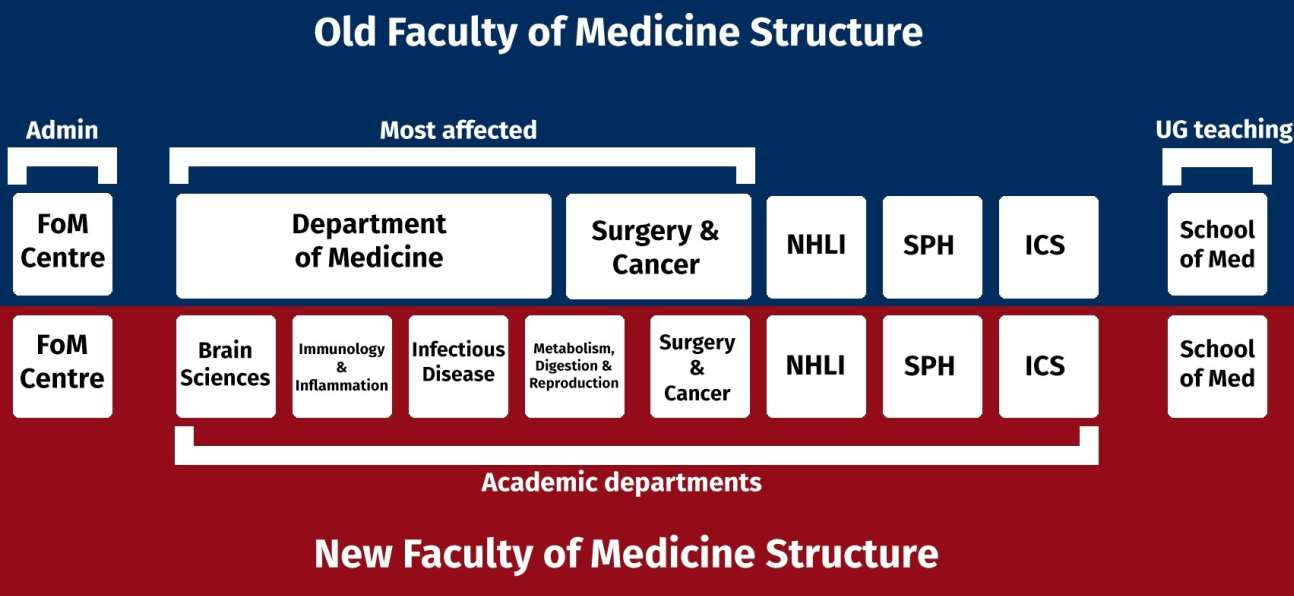 Figure shows in summary how groups from current Department of Medicine will form four new departments.  Also shows how some groups from Department of Surgery and Cancer will join the new Department of Metabolism, Digestion and Reproduction
