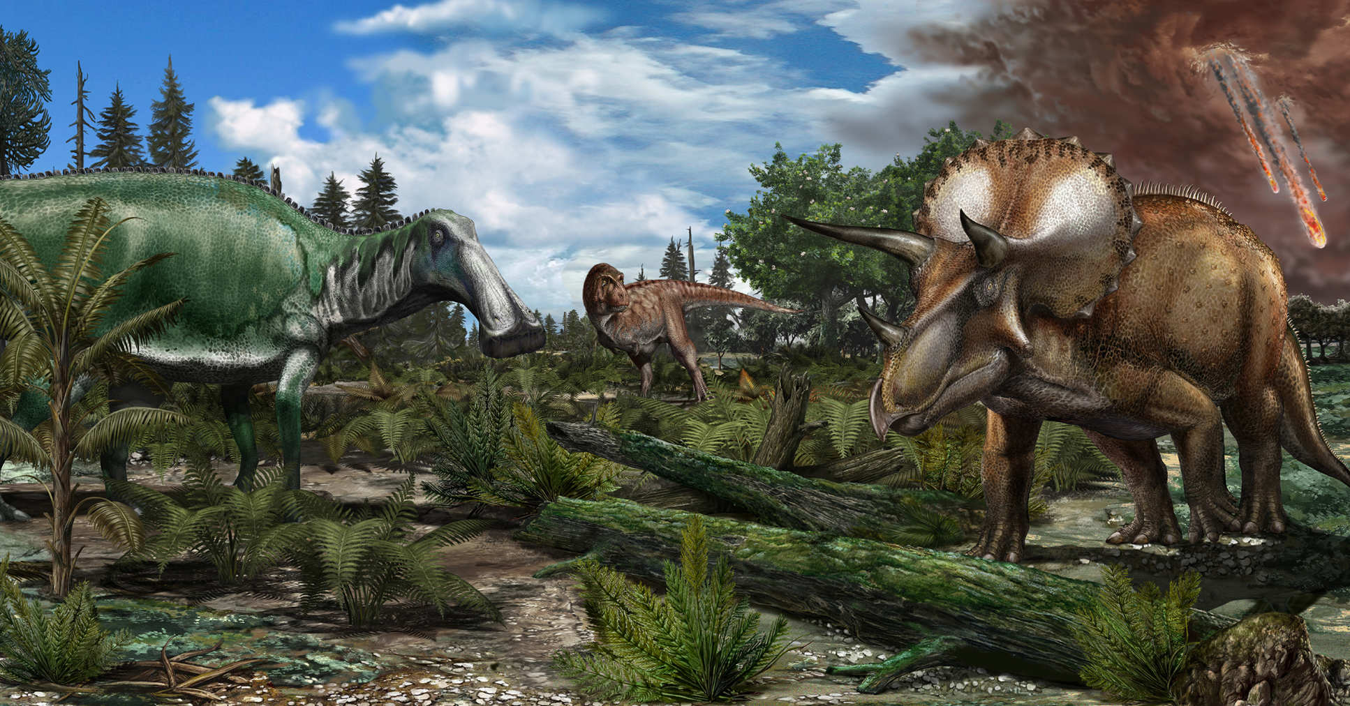 Illustration of dinosaurs and the asteroid in the sky