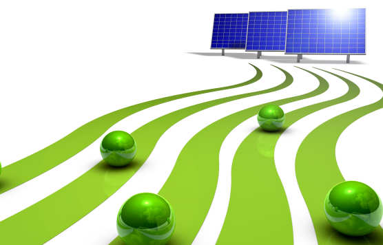 Green energy concept, solar panels