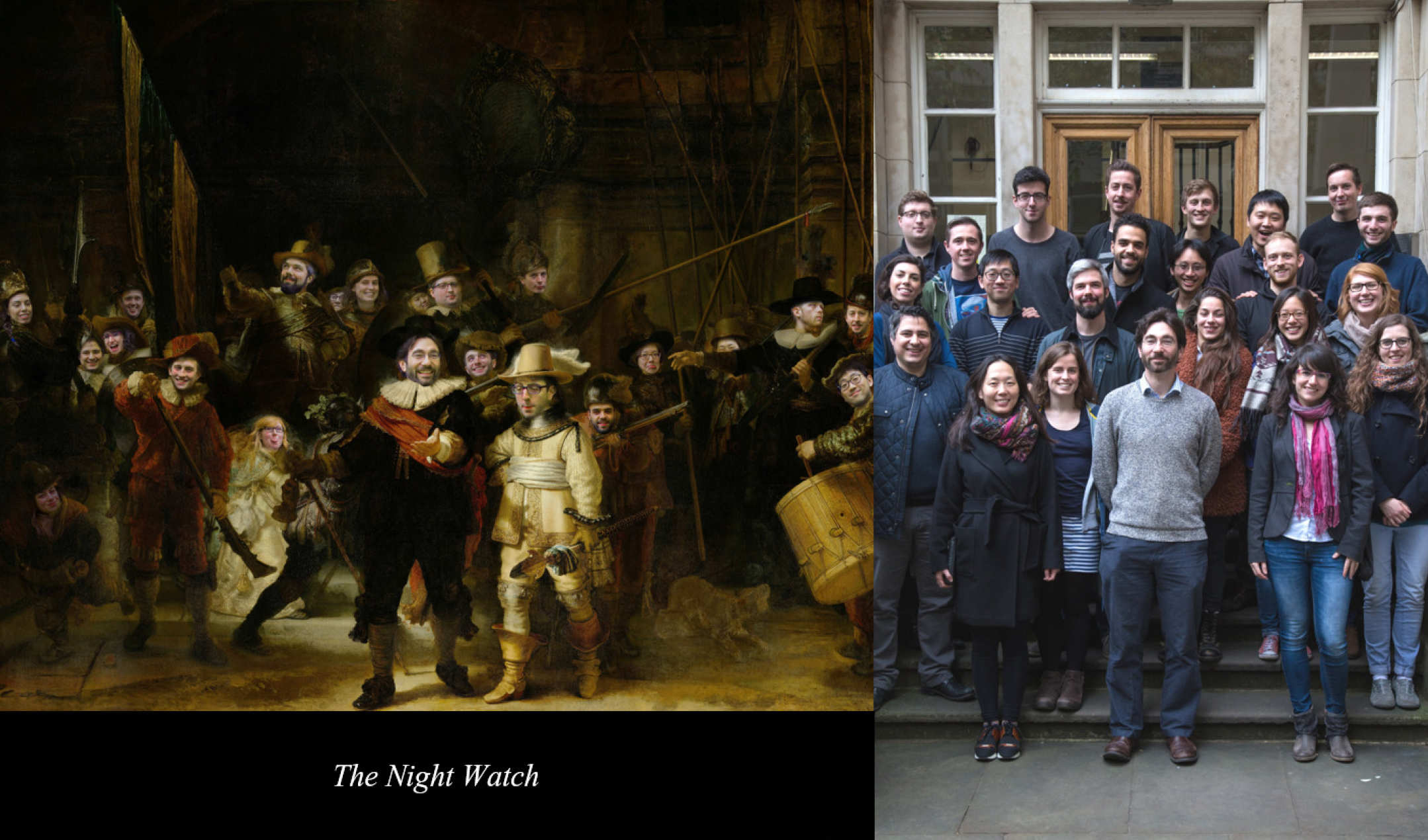 Faces put onto Rembrandts 'Night Watch' alongside 2016 group photo
