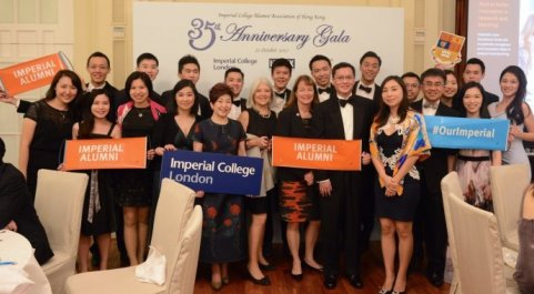 The Hong Kong alumni association with President Alice Gast and Nicola Pogson, Director of Alumni Relations