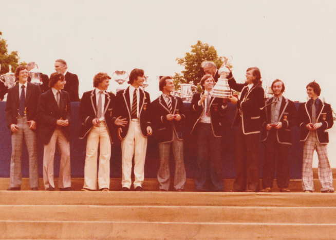 The presentation of the crew's trophy at Henley Royal Regatta in 1978.