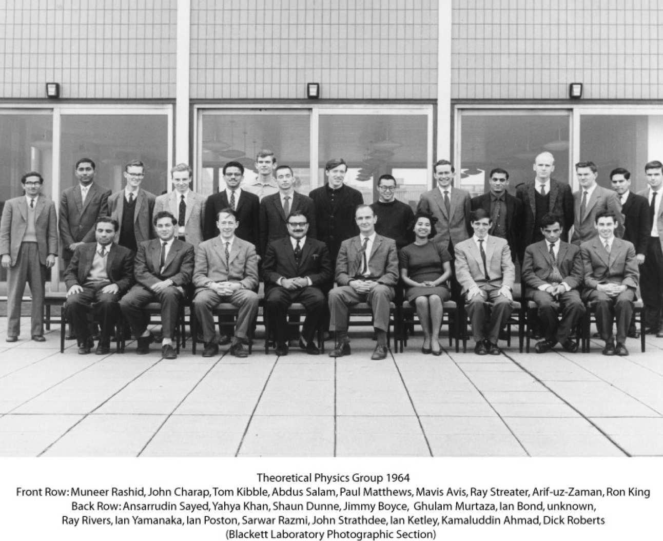 Theoretical Physics Group 1964 black and white photo