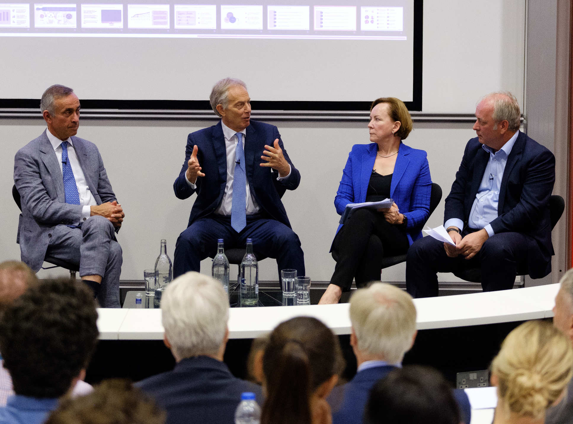 "During a panel session, Mr Blair spoke of the need to be ""a lot tougher on public health""."