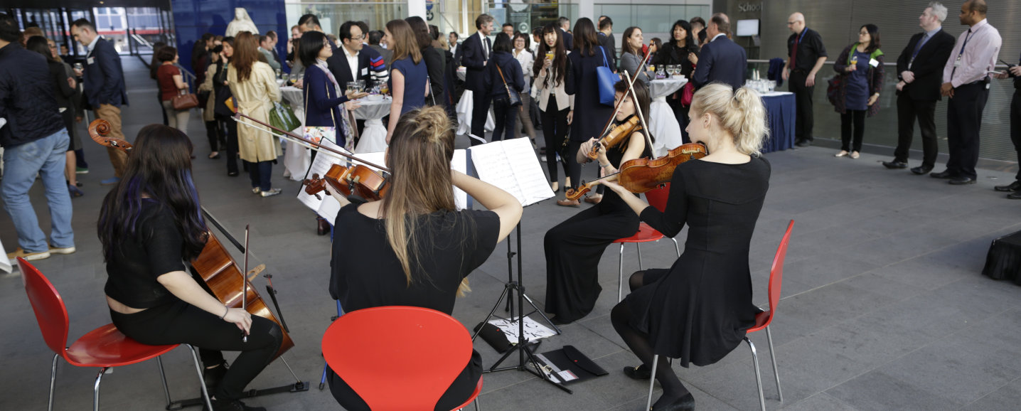 String quartet at a drinks reception in the main entrance