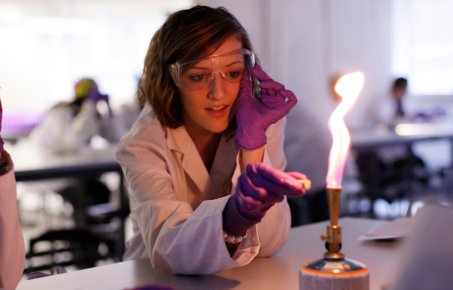 A student working in a lab