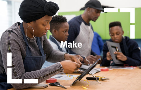Young people using tools in the Reach Out Makerspace