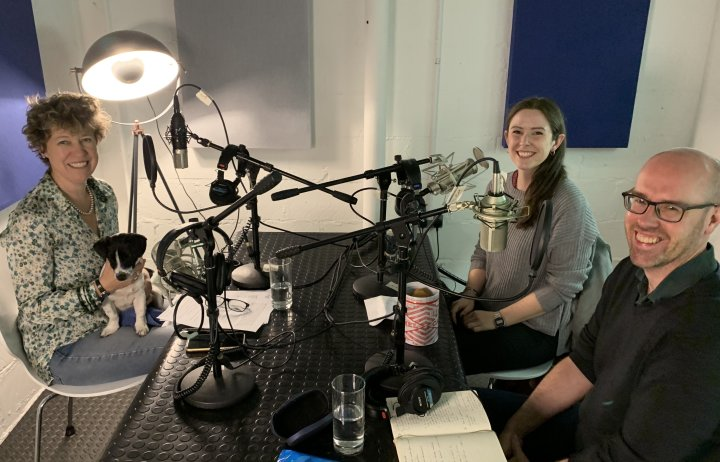 Amanda Carpenter, Madeleine Morris and Jeff Hardy in a podcast studio