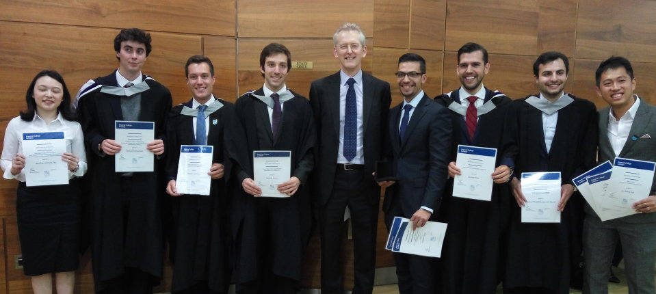 The 2018 graduation prize winners with Head of Department Paul Robinson
