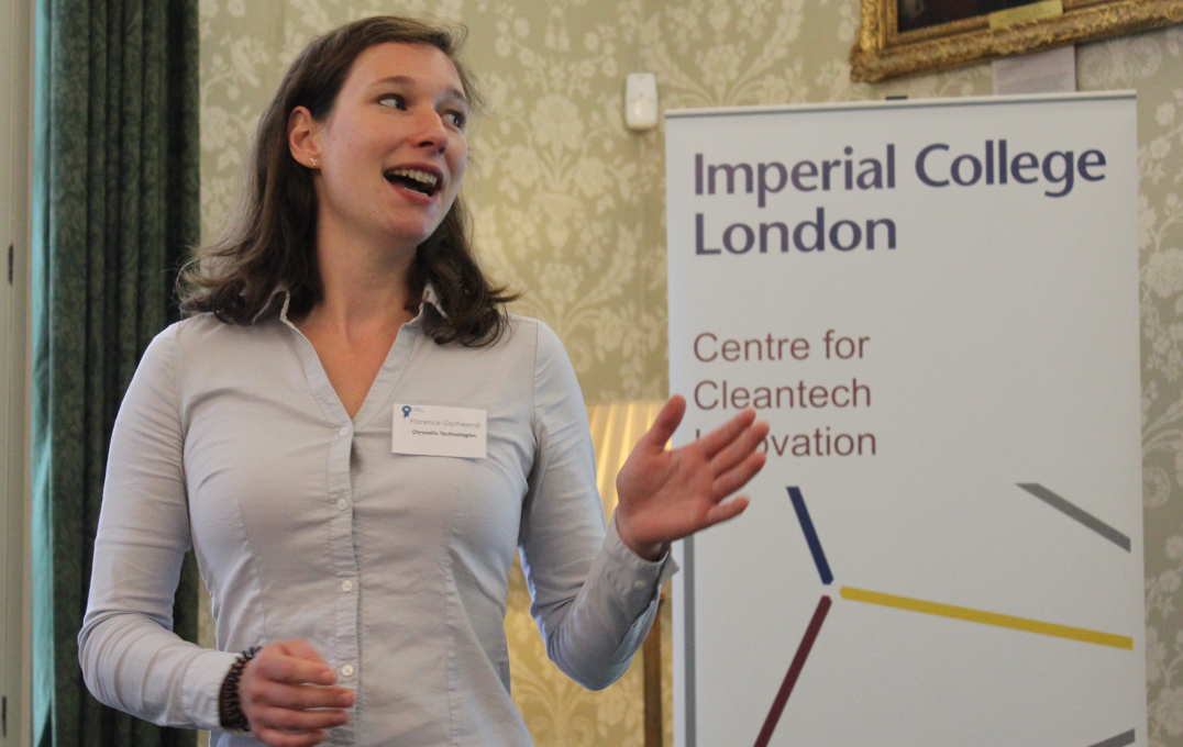"A woman presents in front of a banner reading ""Imperial College London, Centre for Cleantech Innovation"""