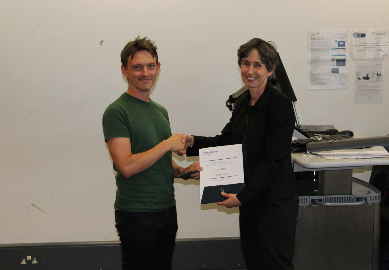 Steve Cook accepting his certificate