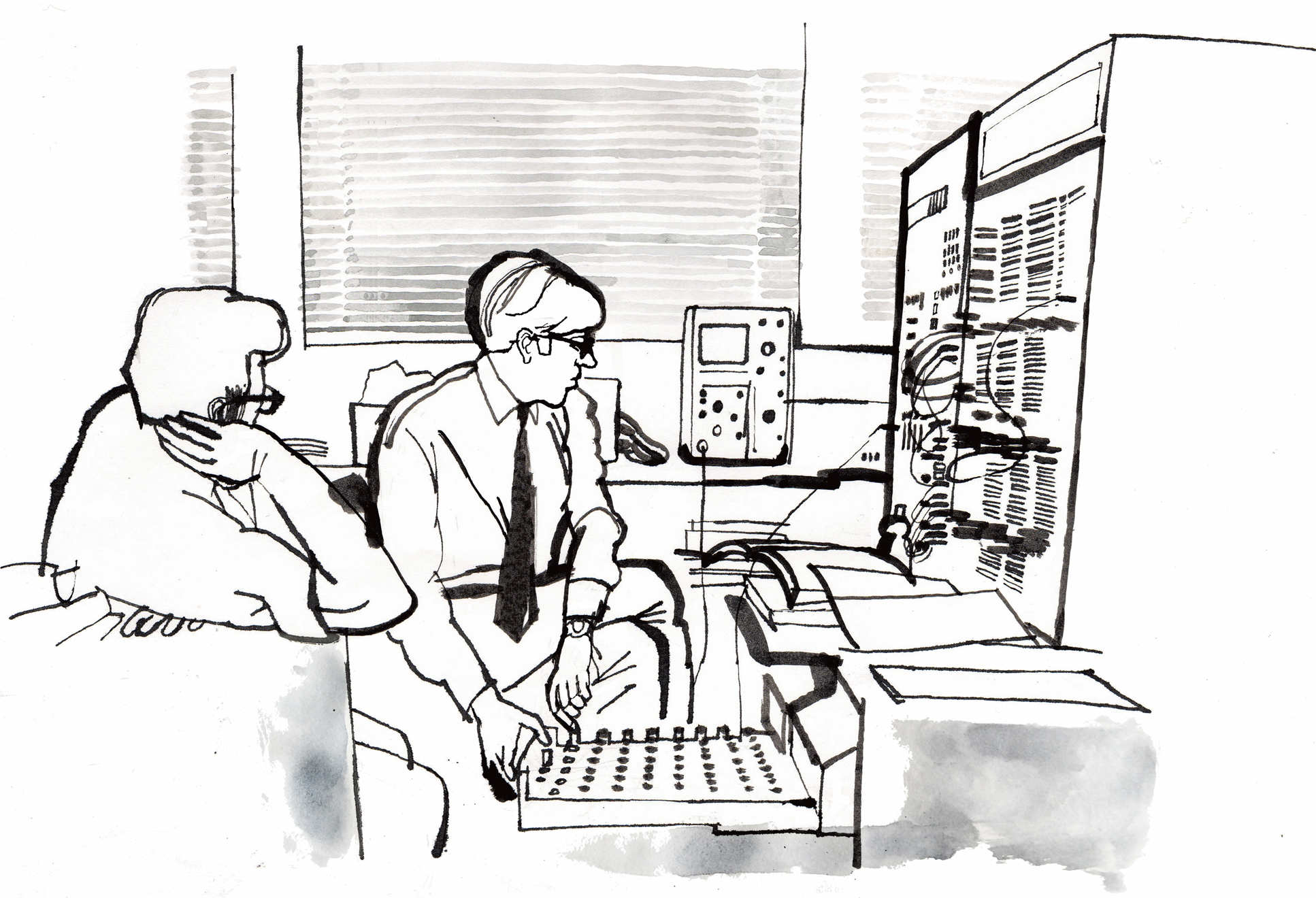Illustration two male students working with a hybrid (analog/digital) computer at Imperial in 1969