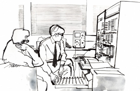 Illustration of two students using a computer in 1969