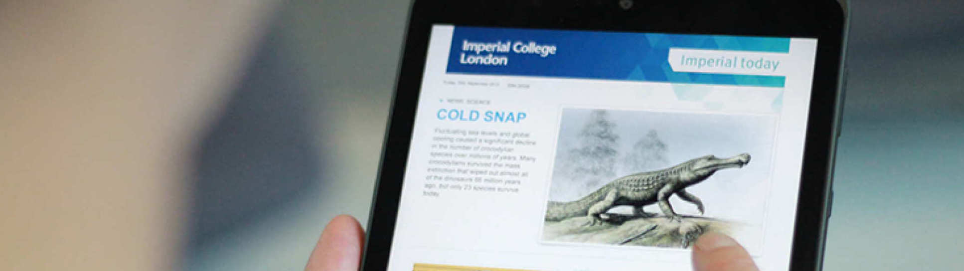 Imperial Today email on an ipad