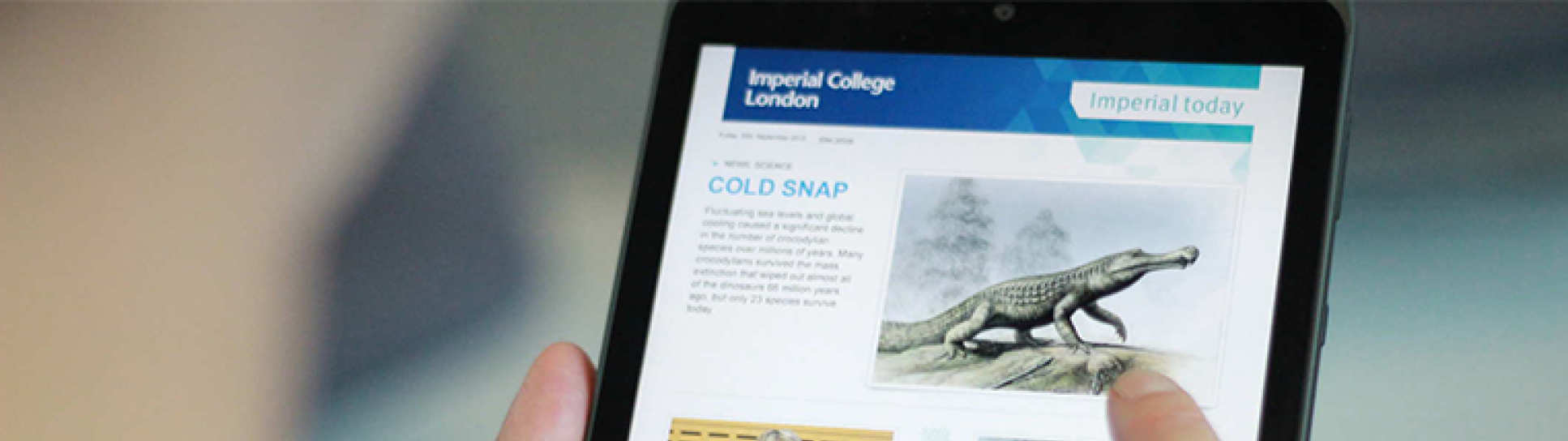 Imperial Today enewsletter on an ipad