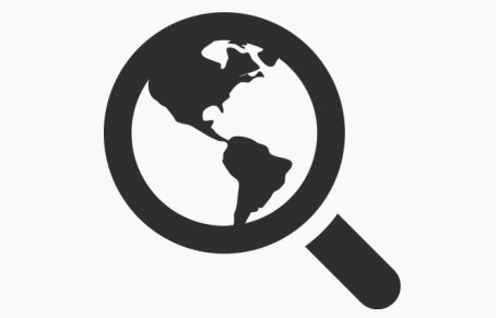 Icon of magnifying glass with world inside