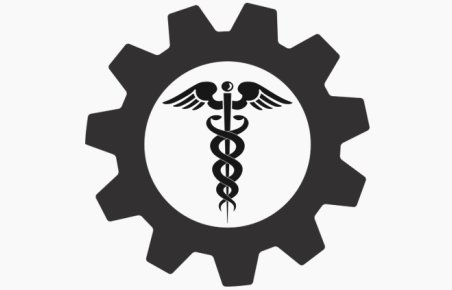 Icon of cog with symbol of health inside