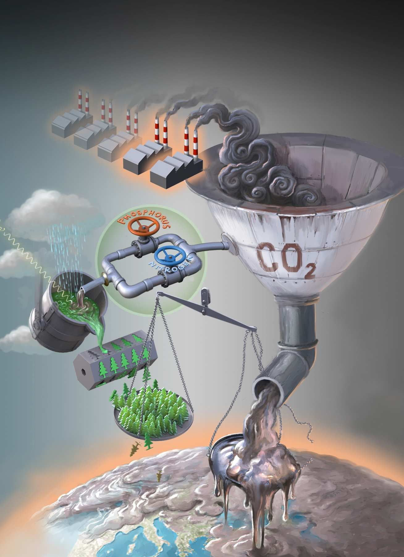 Illustration of CO2 from factories either going into making trees or polluting the Earth
