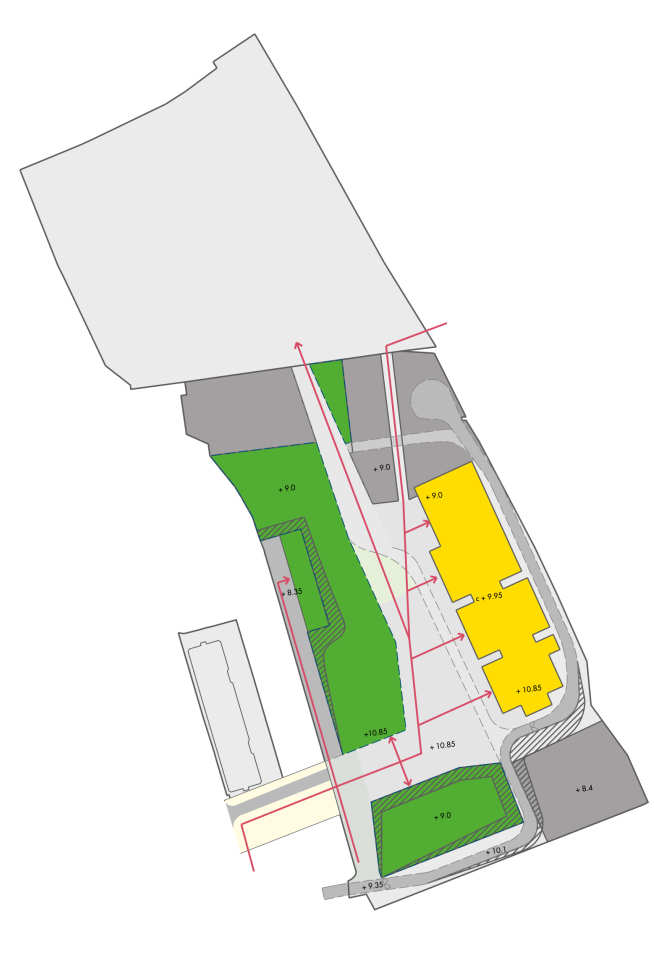 Indicative plan showing potential uses on the site while the long-term masterplan is developed