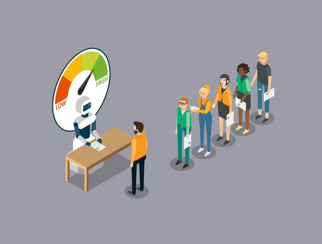 An illustration of a queue of people lining up to a robot at a desk