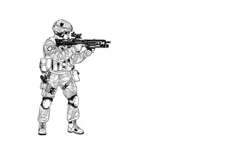Illustration of a solider in uniform holding a gun