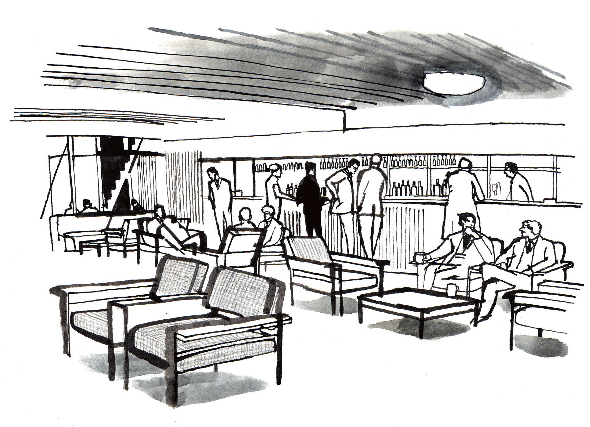 An illustration of the Southside Bar at the South Kensington Campus in the 1960s