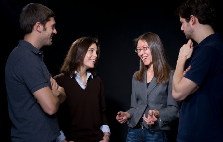 Fay Dowker, Professor of Theoretical Physics, conducts research in a number of areas of theoretical physics including quantum gravity and causal set theory.   Here Fay is teaching her PhD students; Kate Clements, Michel Buck (blue top), Dionigi Benincasa (grey top)