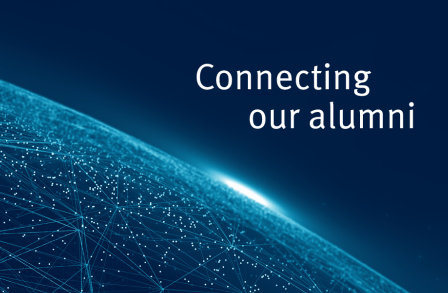 Blue interconnected globe imagery with Connecting our alumni text