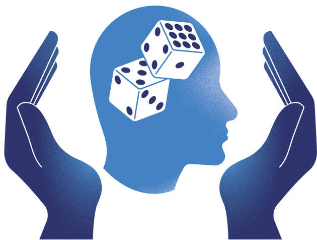 Graphic: A head with dice cupped in two hands