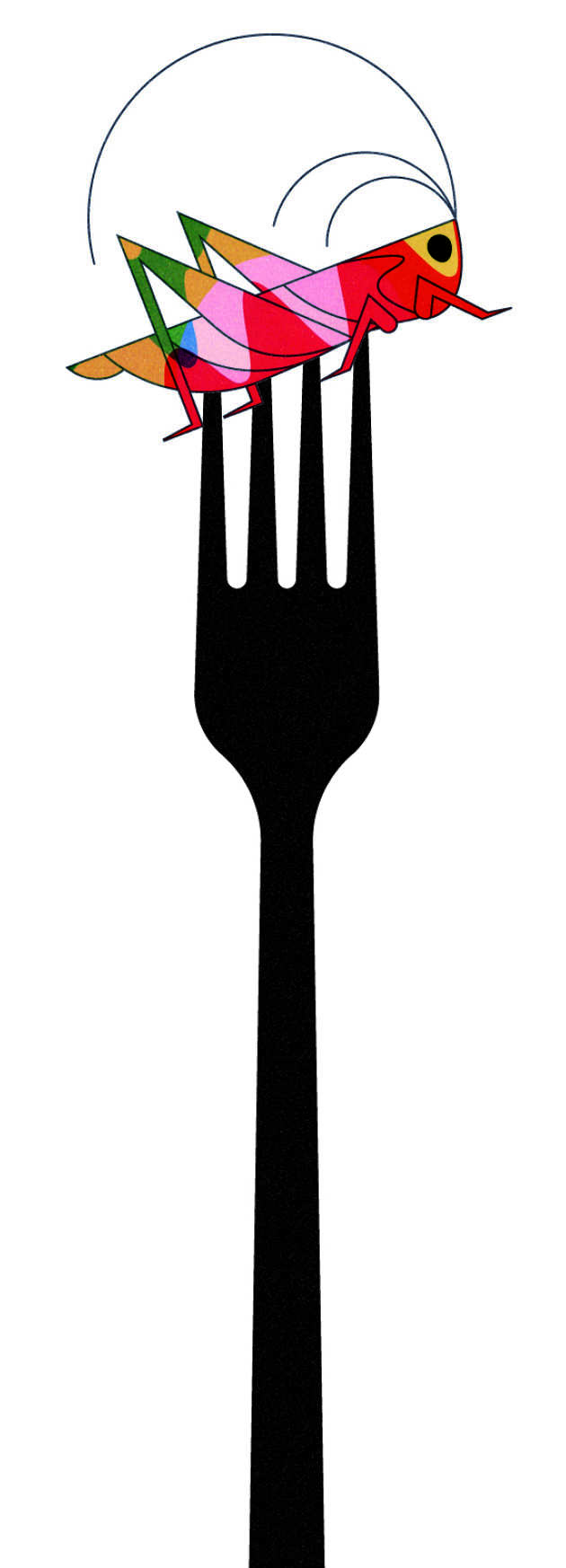 Illustration of a bug on a fork