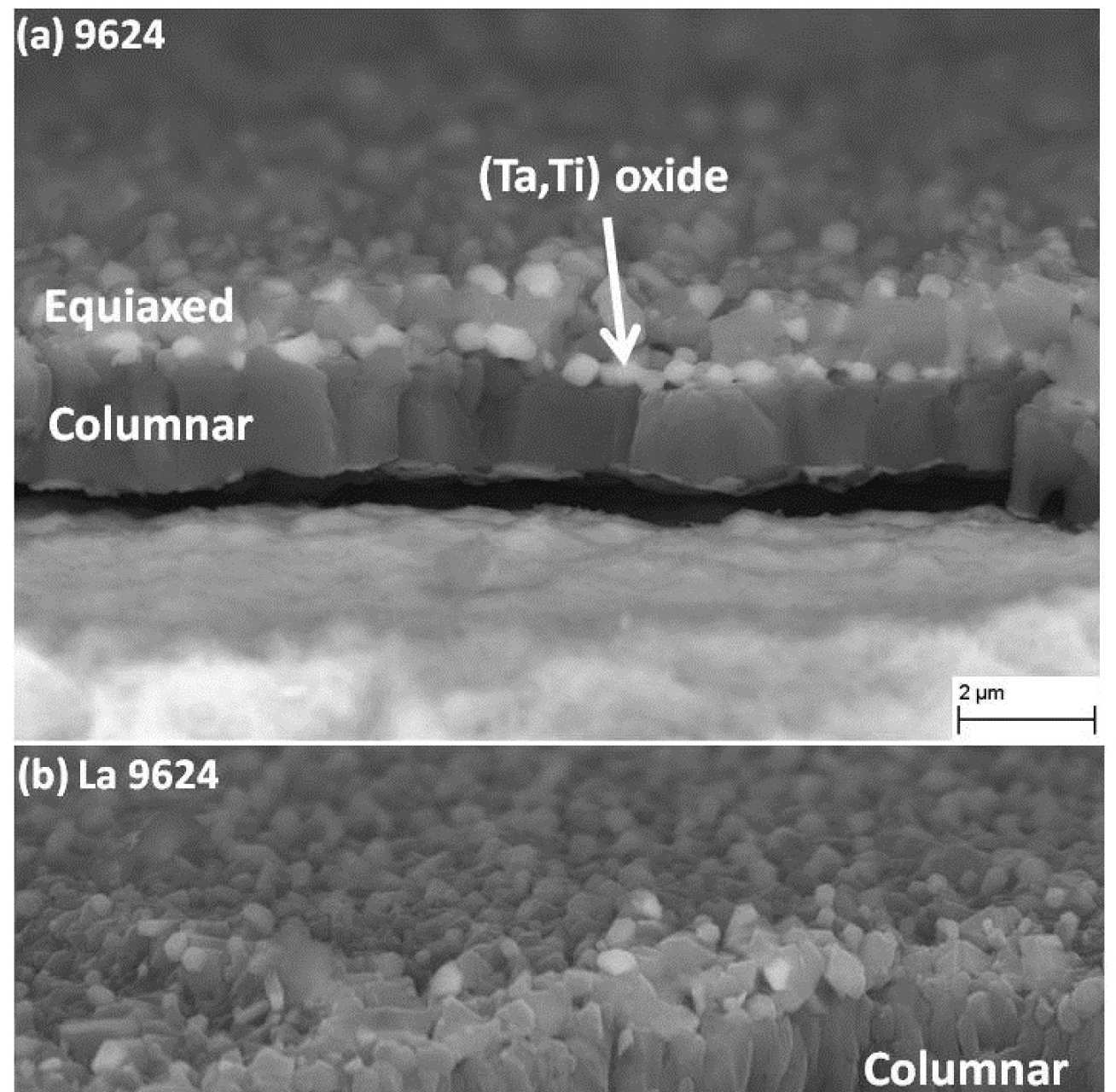 Fractured oxide scale micrographs acquired on the side plane of sample: (a) CMSX-4 9624 and (b) CMSX-4 (La) -9624.