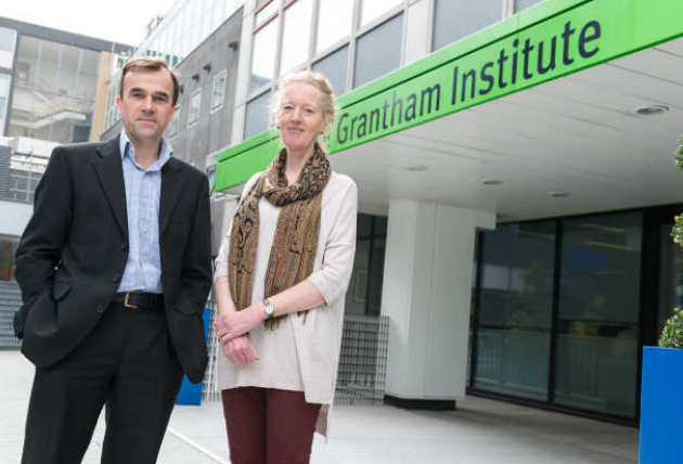 Jo Haigh and Martin Siegert standing outside the Grantham Institute