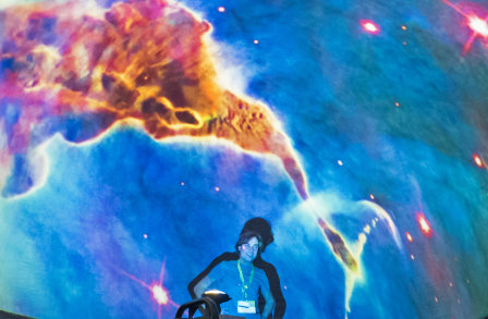 Presenter in the inflatable planetarium