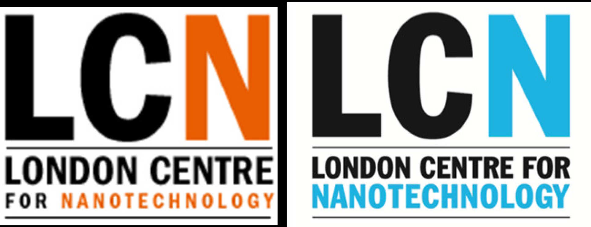 Evolution of the LCN logo, from the original design (left) to the current one (right), officially unveiled in 2011. Notice the change in colour and word distribution in the bottom banner.
