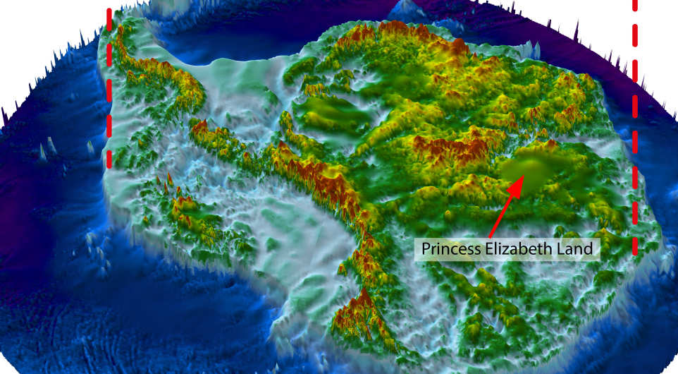 topographical map of Antarctica