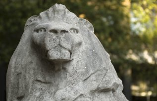 Lion statue on Queen's lawn