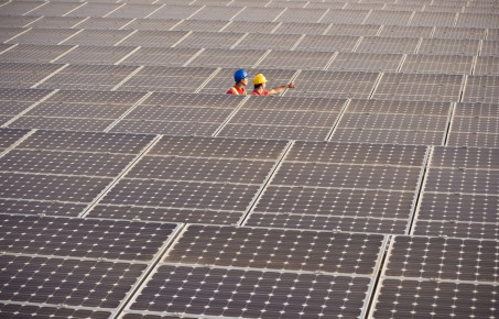 Two engineers working on solar panels c LL28