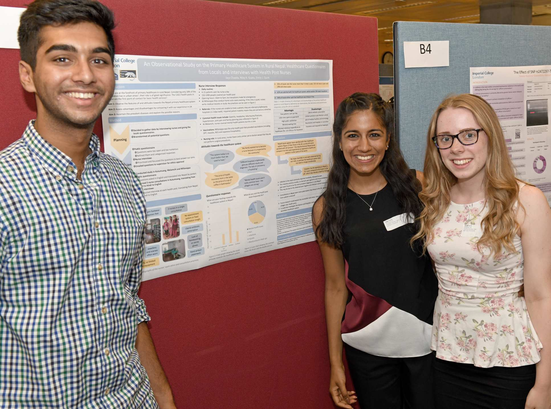 Students stand by their research poster