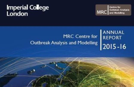 Front cover of the 2015-16 MRC Centre for Outbreak Analysis and Modelling Annual Report