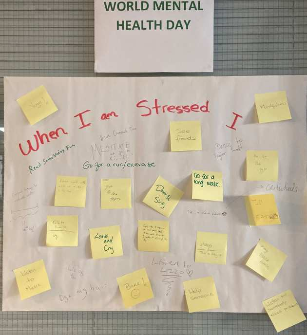 Photo of a board with post-it notes attached to it. The title is 'When I am stressed I...', and each post-it note contributes a strategy for managing stress.
