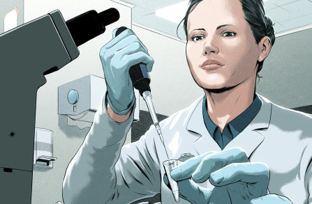 Illustration of a scientist working in a lab