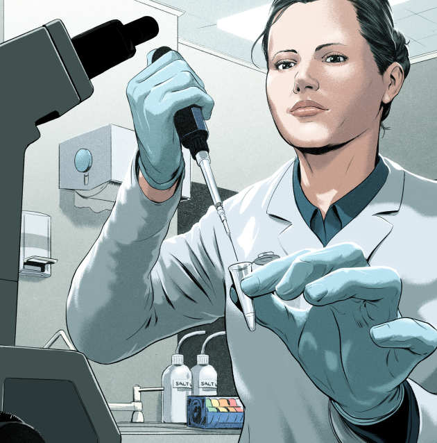 An illustration of a female scientist working in a laboratory